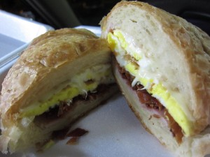 M&M Donuts - Bacon, Egg, Ham Croissant